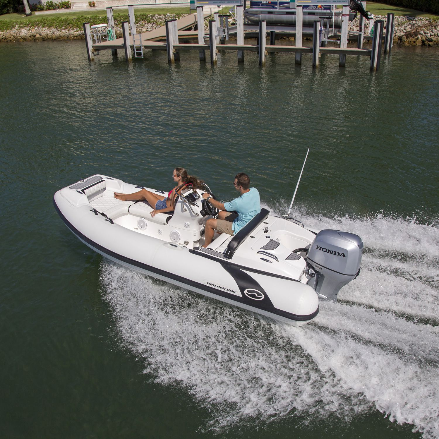 Outboard inflatable boat rigid side console yacht tender