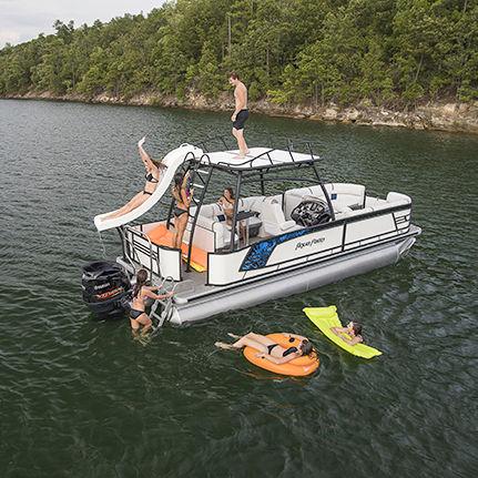 outboard pontoon boat 14 person max ap 255 sdp - Aqua Patio
