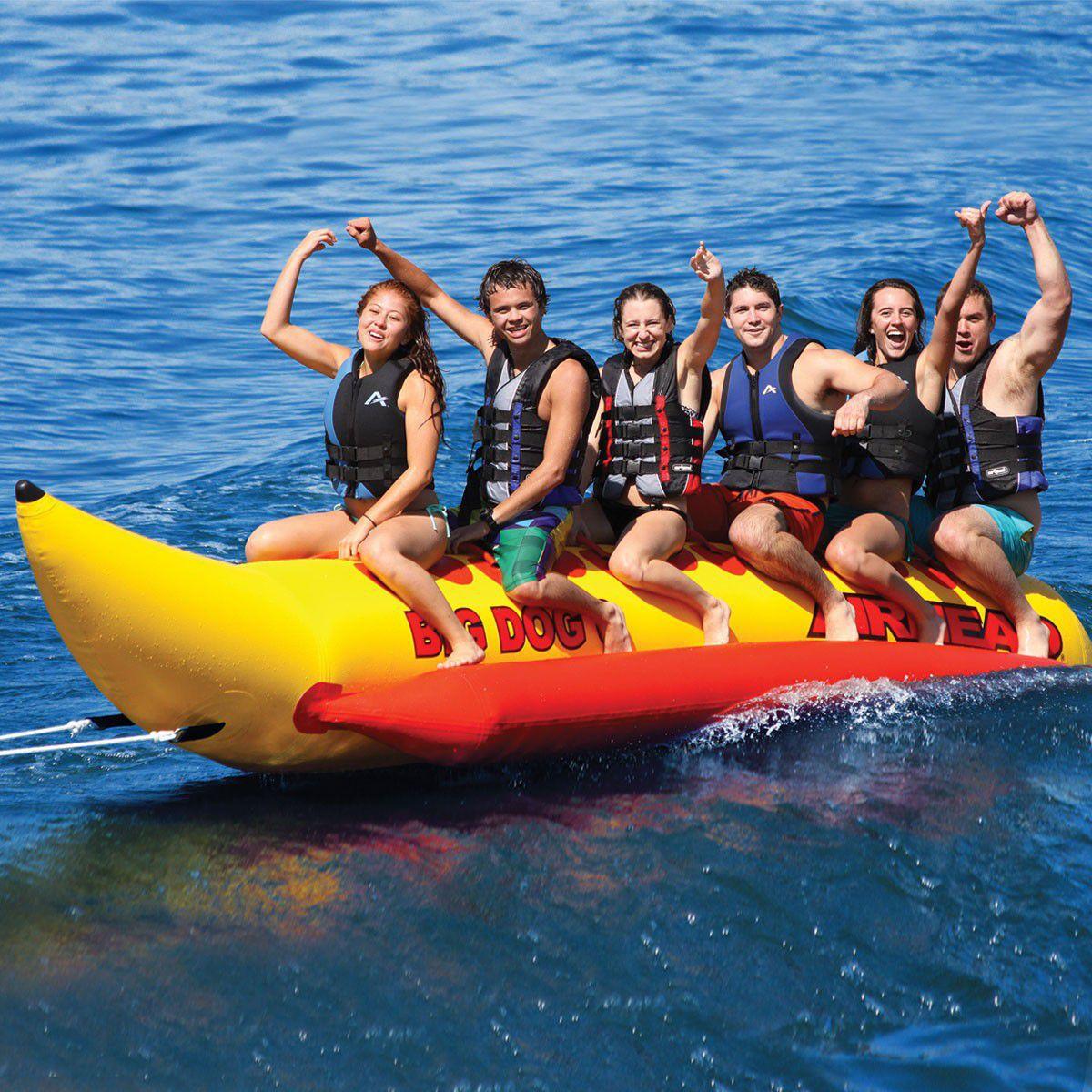 6 Person Max Towed Banana Buoy Big Dog Airhead Videos Boat Tow Harness