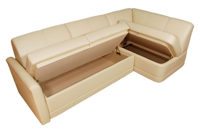 Yacht sofa with storage partment P3 A Glastop Inc