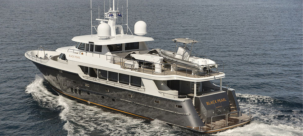 Charter Super Yacht With Enclosed Flybridge Alloy Displacement Black Pearl LOMOcean Design