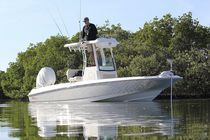 Outboard center console boat / flybridge / sport-fishing / 9-person max.