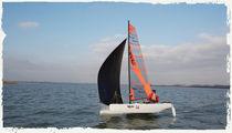 Recreational sport catamaran / double-handed / double-trapeze / asymmetric spinnaker