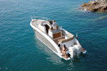 Outboard walkaround / twin-engine / center console / 12-person max.