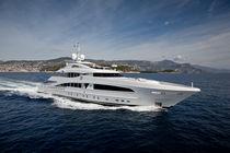 Cruising mega-yacht / raised pilothouse / aluminum / semi-displacement hull