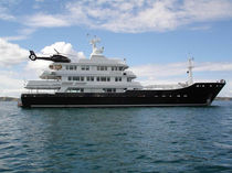 Explorer mega-yacht / raised pilothouse / cruising / steel