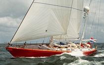 Cruising sailing yacht / open transom / aluminum / ketch