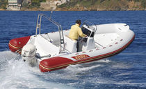 Outboard inflatable boat / semi-rigid / side console / sundeck