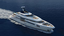 Cruising mega-yacht / wheelhouse / steel / with swimming pool