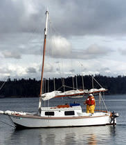 Cruising sailboat / open transom / 1-cabin