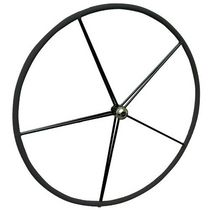 Sailboat helm wheel / leather-covered