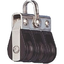 Ball bearing block / triple / with fixed head / max. rope ø 6 mm