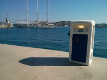 Electrical distribution pedestal / with built-in light / for docks / for yachts
