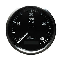 Analog tachometer / for boats / with engine hour meter