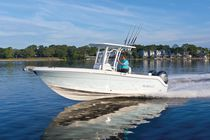 Outboard center console boat / sport-fishing / 12-person max. / with T-top