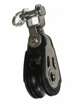 Ball bearing block / single / with swiveling toggle / for sailboats