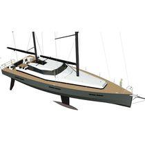 Cruising sailing yacht / open transom / aluminum / lifting keel