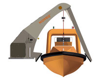 Ship davit / for rescue boats / electric and hydraulic