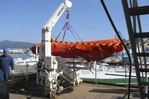 Ship davit / for rescue boats / hydraulic