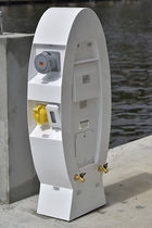 Water supply pedestal / electrical distribution / with built-in light / for docks