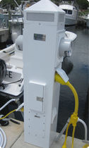 Electrical distribution pedestal / for docks / with meter