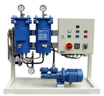 Lubricating oil treatment system / for ships / with filter / with separator