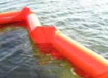 Pollution-control boom / rigid-float / floating