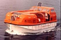 Partially enclosed lifeboat for ships