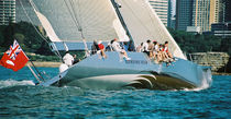 Racing sailing yacht / open transom / canting keel