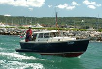 Inboard cruising fishing boat / planing hull / with enclosed cockpit / 4-berth