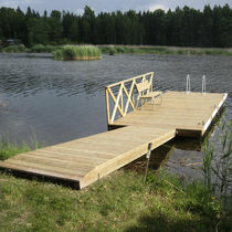 Floating dock / mooring / for marinas / wooden