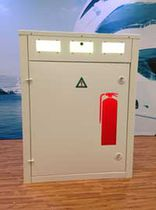 Fire pedestal / with built-in light / for docks / stainless steel