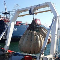 Oceanographic research vessel lifting A-frame for ships