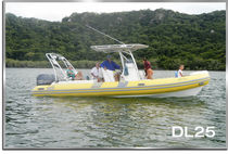 Outboard inflatable boat / center console / 16-person max. / with T-top