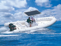 inflatable boat : equipped rigid inflatable tender (outboard, twin engine, center console, T-Top) RAIDER 730 Duarry