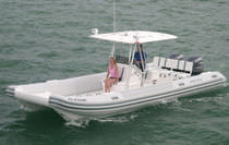 power catamaran : rigid inflatable boat (outboard, twin engine, center console, T-Top) 28 CATAMARAN Nautica Ribs