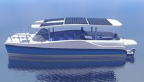 power catamaran : in-board center console boat (hybrid diesel / electric) E-MC30 SOLAR Motorcat