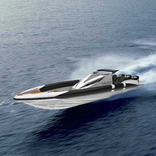 outboard inflatable boat / triple-engine / RIB / center console