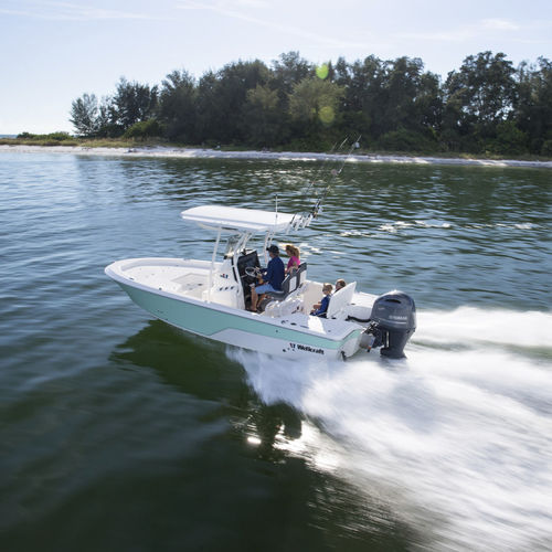 outboard bay boat / center console / sport-fishing / 8-person max.