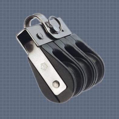 ball bearing block / triple / with fixed head / max. rope ø 8 mm