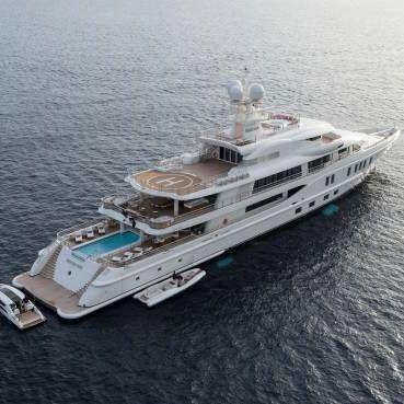 cruising mega-yacht / raised pilothouse / with helideck / with swimming pool