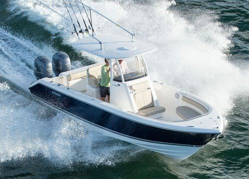 Outboard center console boat / twin-engine / sport-fishing / with T-top C 260 Pursuit Boats