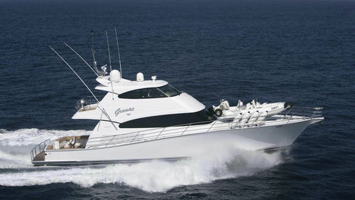 sport-fishing motor yacht / with enclosed flybridge / displacement hull