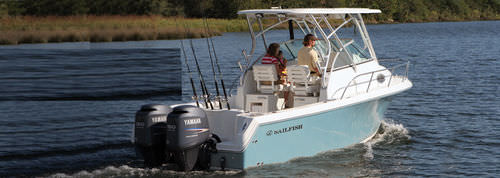 outboard walkaround / twin-engine / sport-fishing / 10-person max.