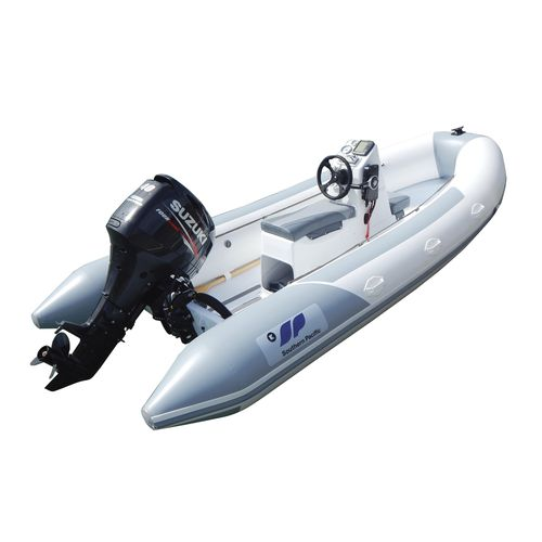 outboard inflatable boat / rigid / with jockey console / dive