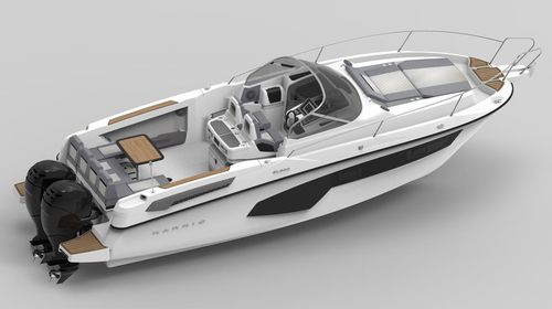 outboard walkaround / twin-engine / dual-console / 10-person max.