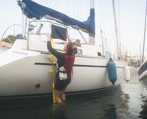 boat ladder / folding / adjustable / emergency