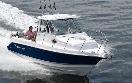 outboard cabin cruiser / twin-engine / hard-top / sport-fishing