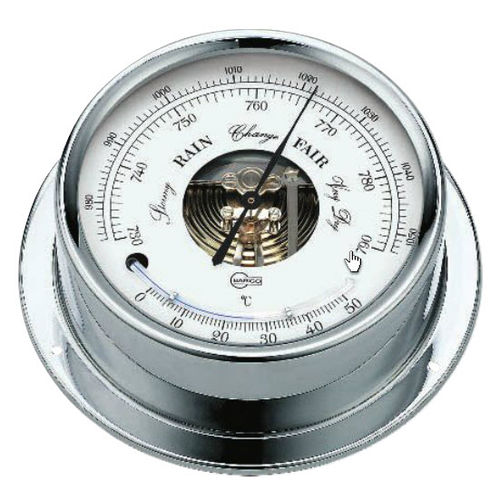 analog barometer / thermometer / brass / chrome