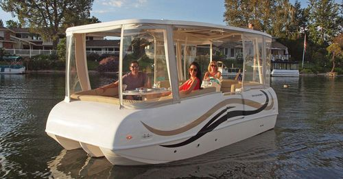 outboard pontoon boat / electric / 10-person max.
